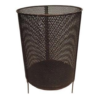 Mid-Century Steel Metal Waste Basket Early, Style of Richard Galef For Sale