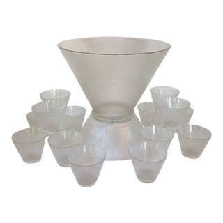 Mid-Century Modern Federal Glass Norse Pattern Ribbed Punch Bowl With Bowl Base and 16 Glass Cups - Set of 18