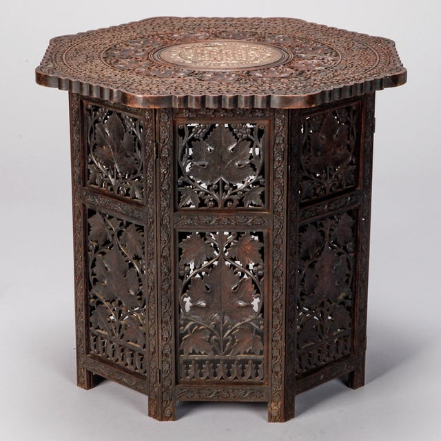 Octagonal Delicately Carved Dark Wood Moorish Table - Image 2 of 9