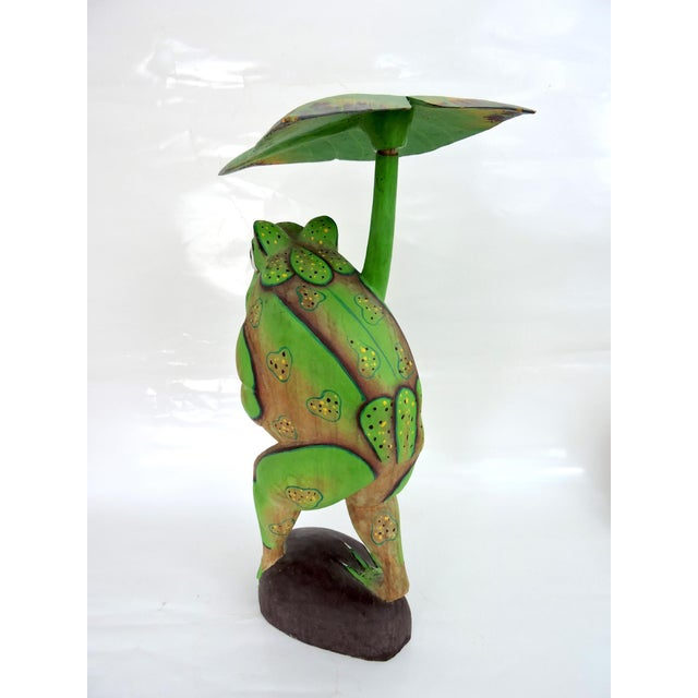 Boho Chic 1970s Boho Chic Balinese Frog With Leaf For Sale - Image 3 of 7