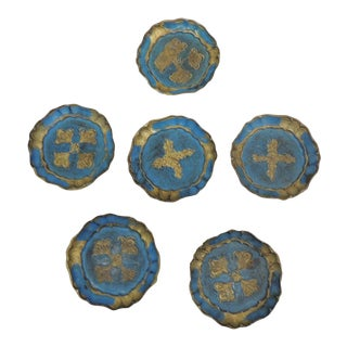 Set of (6) Blue and Gold Vintage Florentine Style Coasters For Sale