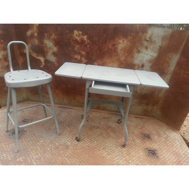 Gray Industrial Drop Leaf Desk & Stool- A Pair For Sale - Image 8 of 8
