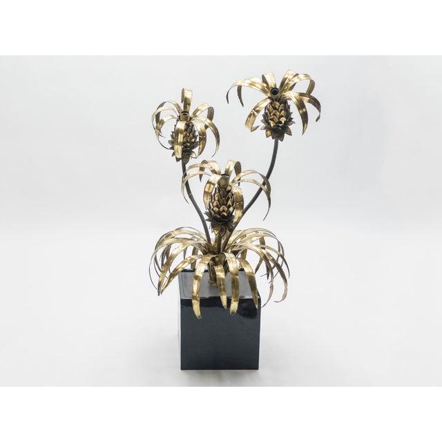 Rare Pair of Hollywood Regency Brass Maison Jansen Pineapple Floor Lamps, 1970s For Sale - Image 11 of 13