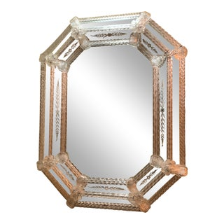 Hollywood Regency Venetian Etched Glass Wall Mirror For Sale