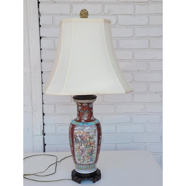 Vintage Mid Century Chinese Hand Carved Lamp For Sale - Image 11 of 11