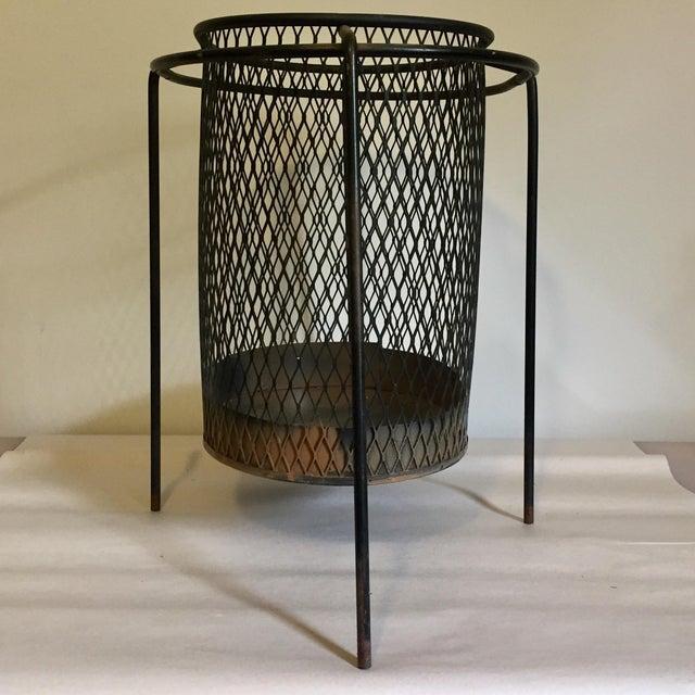 Mid-Century Maurice Duchin Iron Mesh Wastebasket For Sale - Image 4 of 7