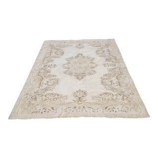 Vintage Distressed Oushak Rug- 5′10″ × 8′10″ For Sale