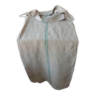 Rustic Primitive Hemp Green Stripe Linen Washed Grain Sack Bag For Sale