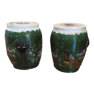 Asian Clay Mid-Century Garden Stools - A Pair For Sale