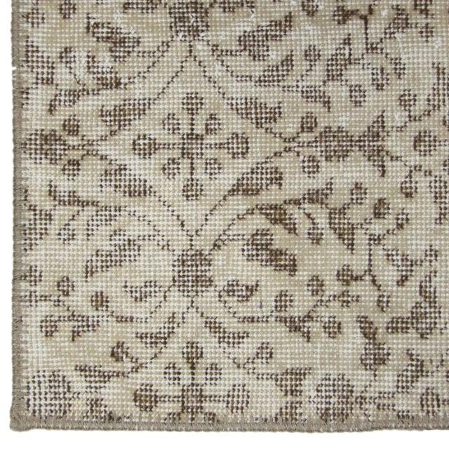 "Boho Chic Floral Beige Overdyed Carpet Rug - 3'11"" x 5'10"" For Sale - Image 3 of 3"