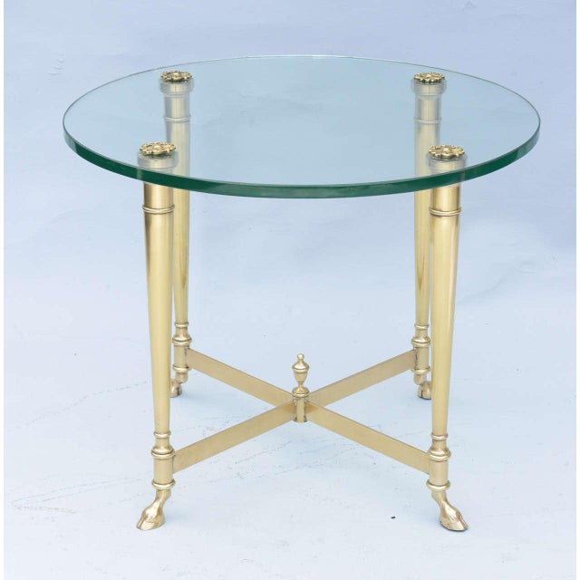 Luxury Polished Brass End Table With Glass Top On Hooved Feet Decaso
