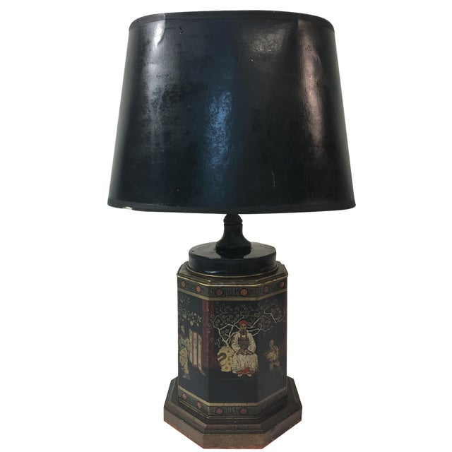 Early English Tea Canister Lamp For Sale