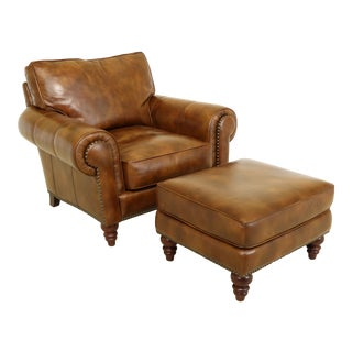Henredon Brown Leather Living Room Chair & Matching Ottoman For Sale