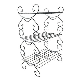 Mid-Century Black Metal Wire Plant Stand For Sale