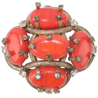 Vintage Coral Glass & Rhinestone Brooch For Sale