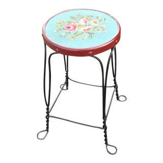 Wrought Iron Ice Cream Stool With Rose Design Fabric Top For Sale