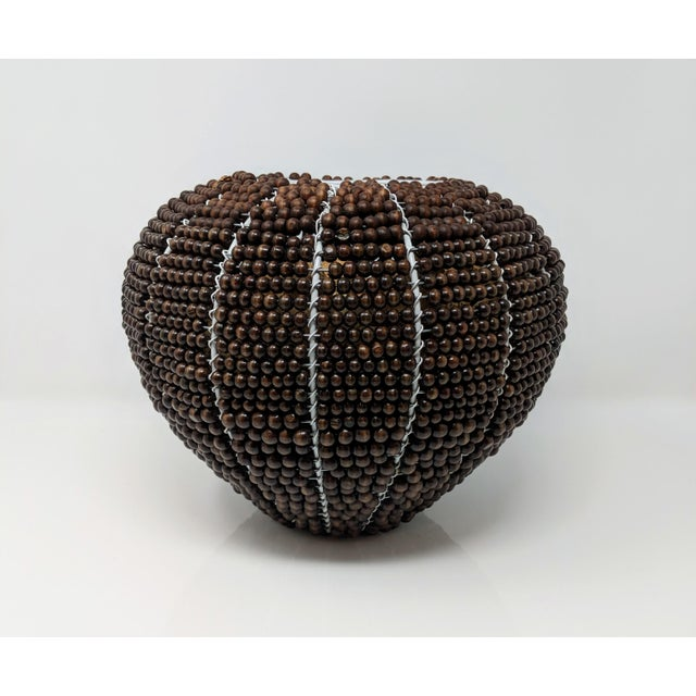 Metal Tribal Fair Trade Beaded Vase For Sale - Image 7 of 13