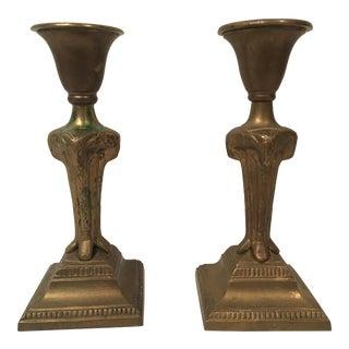 Egyptian Ram Head Ank Carved Brass Candlesticks- A Pair