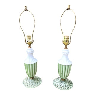 Art Deco Milk Glass and Painted Green Glass Lamps - a Pair For Sale