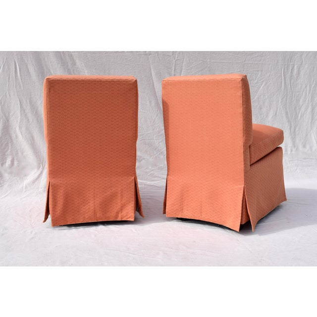 Salmon Billy Baldwin Slipper Chairs, Pair For Sale - Image 8 of 12