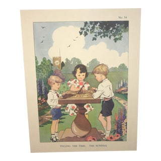 "1930s Vintage ""Telling the Time: Sundial"" Linen Back Poster For Sale"
