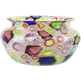 Fratelli Toso Murano Millefiori Flower Star Mosaic Italian Art Glass Mid Century Bowl For Sale