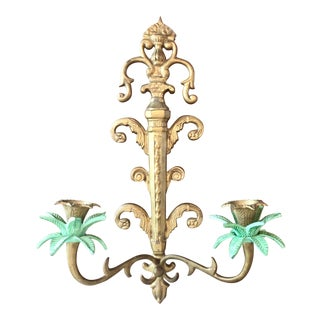 Antique Cast Brass Double Candle Tropical Palm Tree Sconce For Sale