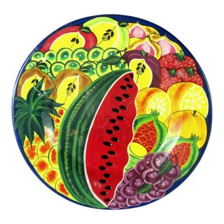 Mexican Painted Clay Plate For Sale