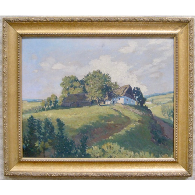 Gold Jan Honsa Vintage Early 20th Century Czech Republic Landscape Signed Original Oil For Sale - Image 7 of 7