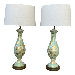 Seafoam Green Porcelain With Gold Leaf Table Lamps With Shades- a Pair For Sale