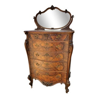Antique American Victorian Rococo Revival Rosewood Highboy Dresser Chest With Mirror For Sale