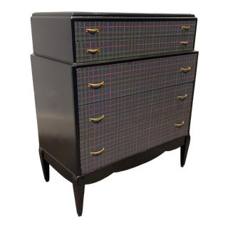 Vintage Painted High Chest in Black With Mackenzie Tartan Plaid Pattern Drawers For Sale