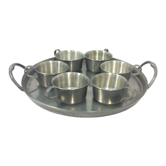 Pewter Gallery Tray & Cups - Set of 7 - Image 1 of 5