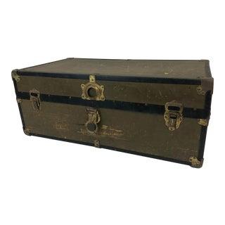 Vintage Industrial Military Foot Locker Trunk For Sale