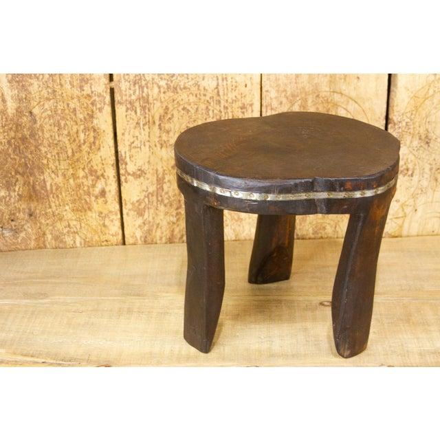 Tribal Ishann Metal Strap Naga Tripod Stool For Sale - Image 3 of 7