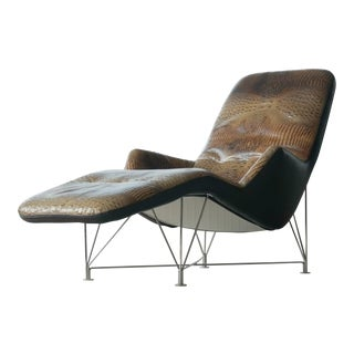 Chaise Longue in Crocodile Leather Model Superspider for Dux Sweden