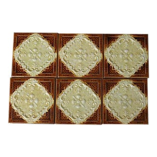Antique Majolica Tiles - Set of 6 For Sale