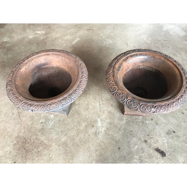 Traditional Antique Cast Iron Urns - a Pair For Sale - Image 3 of 4