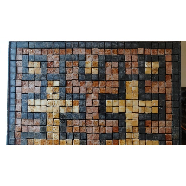 Mediterranean Mid-Century Greek Key Marble Mosaic Wall Art or Table Top For Sale - Image 3 of 12