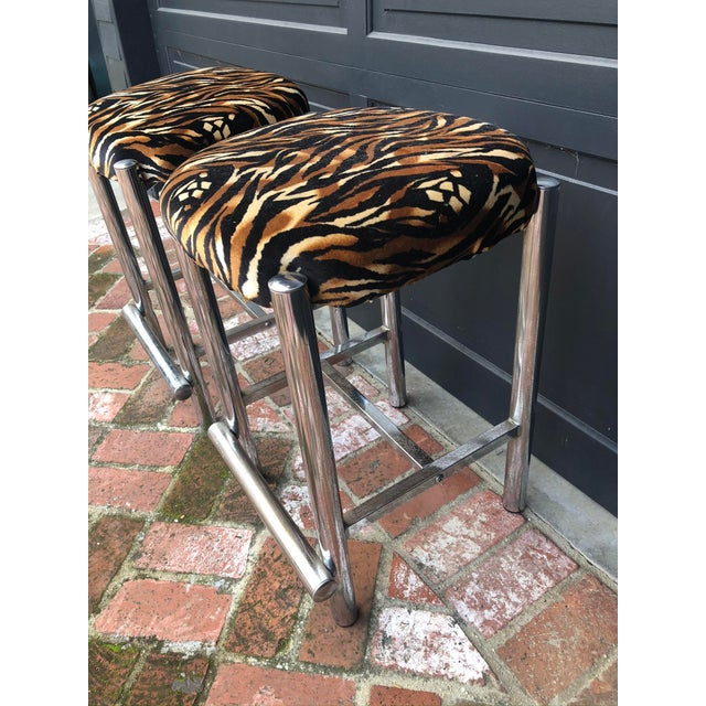 Mid-Century Chrome Based Stools - a Pair For Sale - Image 4 of 7