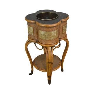 Pulaski Rattan Bent Bamboo and Capiz Clover Top Wine Cooler Stand For Sale