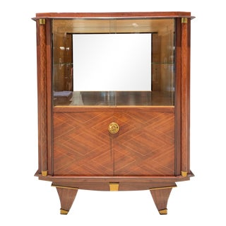 "1940s French Art Deco Rosewood ""Diamond'' Inlay Dry Bar Cabinet by Jules Leleu Style For Sale"