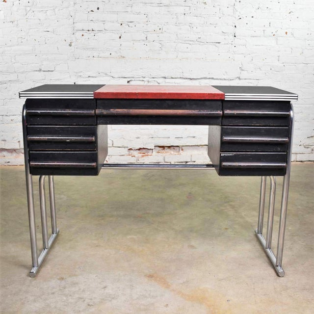 Art Deco Machine Age International Style Chrome & Black Desk Gilbert Rohde Attribution For Sale - Image 13 of 13