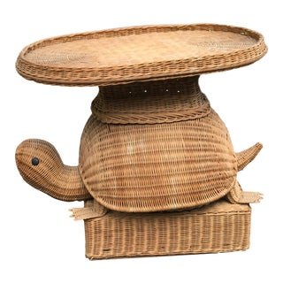 Vintage Wicker Rattan Turtle Side Table For Sale