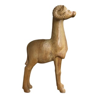 Large Wooden Ram Sculpture For Sale