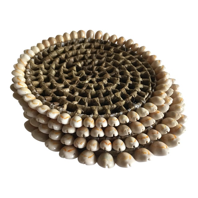 Boho Beach House Seashell Trivets - Set of 4 For Sale