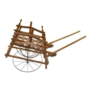 French 19th Century Handmade Wood Garden Flower and Vegetable Trolly on Two Iron Wheels For Sale