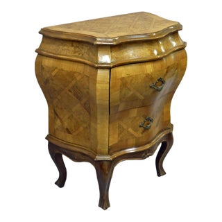 20th Century Italian 2 Drawer Bombe Commode For Sale