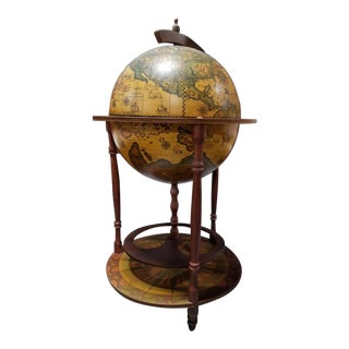 Italian Portable Zodiac Decorative Floor Globe Bar Cart For Sale