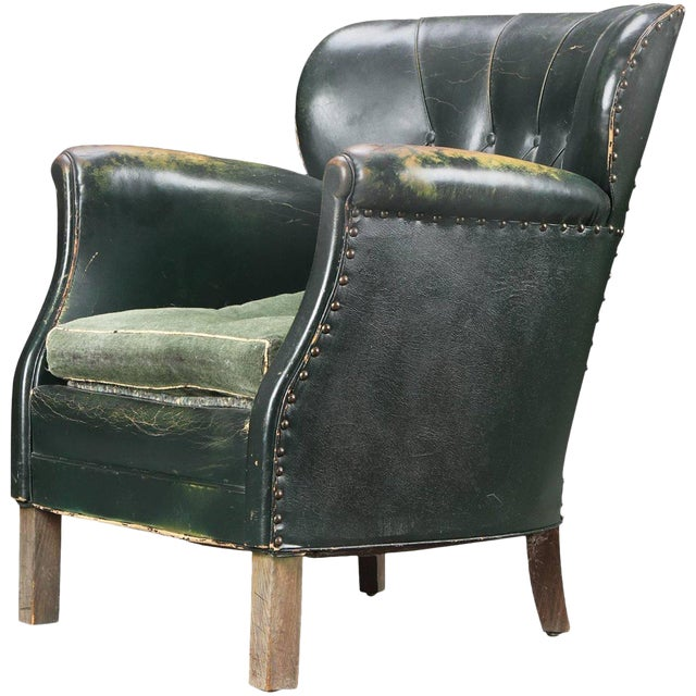 danish 1930s small scale club chair in tufted patinated green